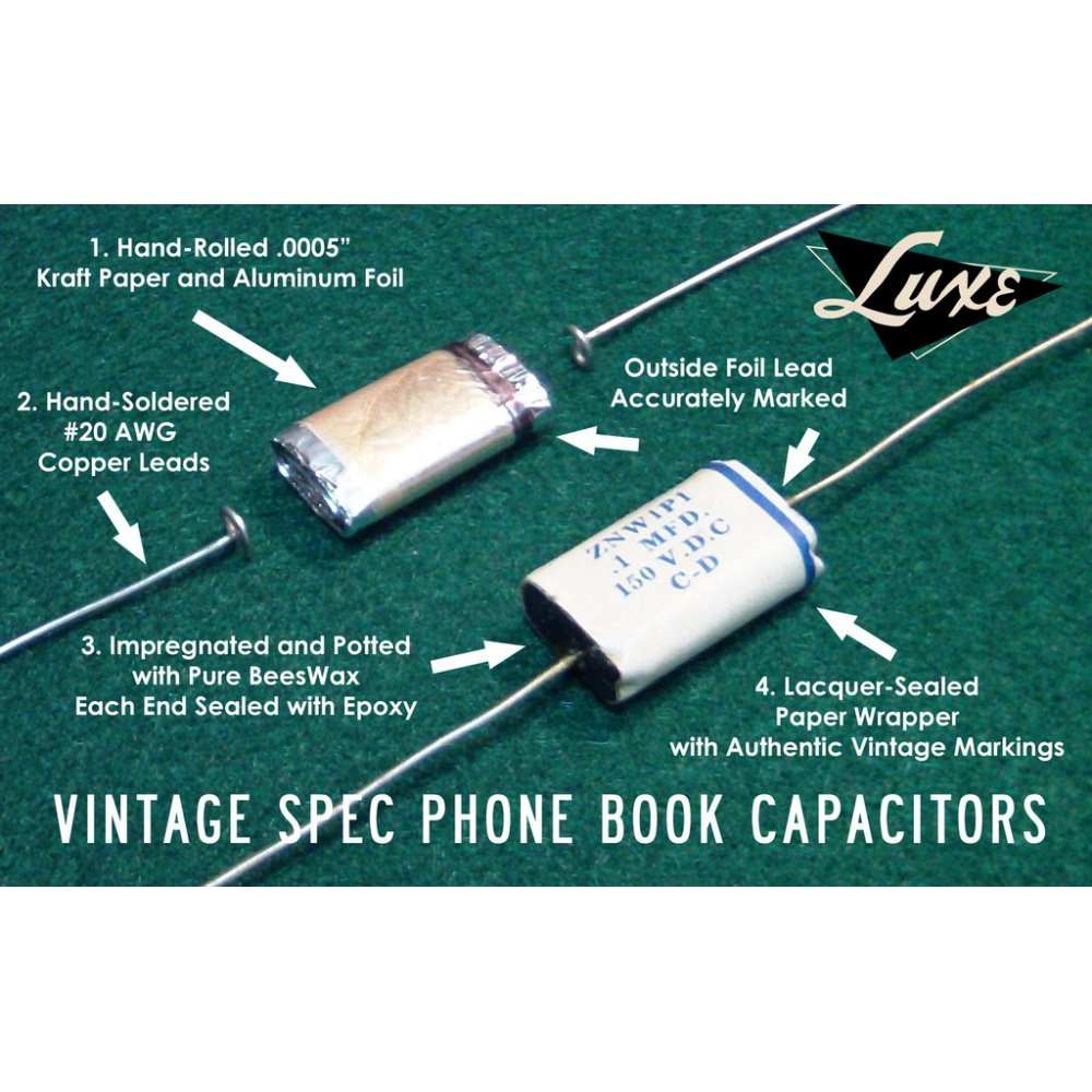 luxe vintage correct capacitors for electric guitar and electric bass luxe 1956 1958 phone book wax impregnated paper foil 1mf capacitor