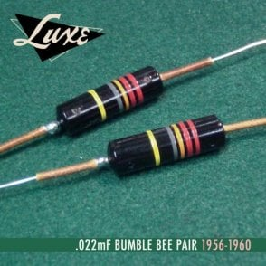 1956-1960 Matched Pair of Luxe Oil-Filled .022mF Bumble Bee Capacitors