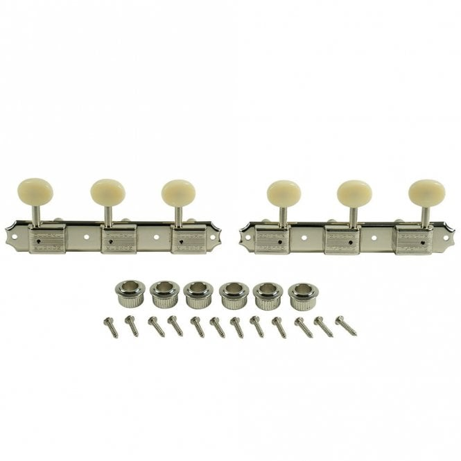 Kluson 3 On A Plate Tuners Nickel - Oval Plastic Button - Double Line Kluson Stamp