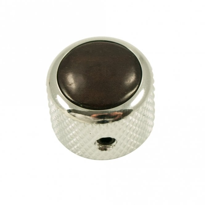 Q Parts Dome knob - Hardwood cap - Ebony / Chrome base
