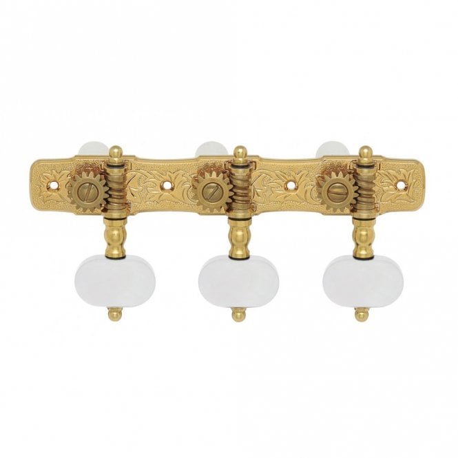 Gotoh 35G510 Premium 510 Series Gold Classical Guitar Tuners, Pearl Buttons