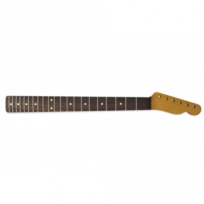 Hosco Tele Vintage-Style Rosewood Replacement Neck Tinted Yellow Gloss Finish, 21 Fret