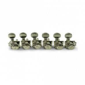 6 In Line Locking Revolution Series Staggered Post Tuning Machines, Modern Screw-In Collars for 10mm Headstocks