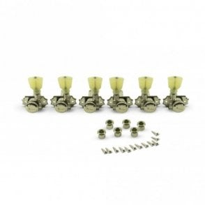 Revolution Diecast Tuners, 3 Per Side, Pearloid Keystone Button, Locking, Push-Fit Bushing for 8.8mm Headstocks