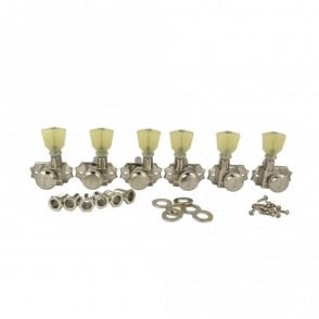 Revolution Diecast Tuners - 3 Per Side - Pearloid Keystone Button, Locking, Screw-In Bushing for 10mm Headstocks