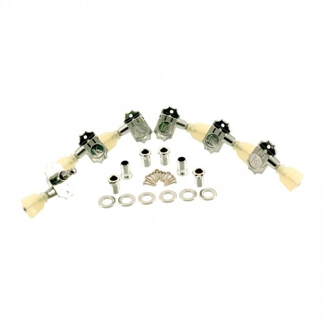 Kluson Revolution G-Mount Diecast Tuners - 3 Per Side - Pearloid Keystone Button