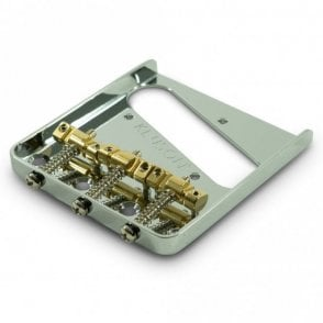 Steel Bridge for Tele with 3 Brass Compensated Saddles (Through Body Stringing)