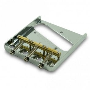 Steel Bridge for Tele with 3 Brass Saddles (Through Body Stringing)