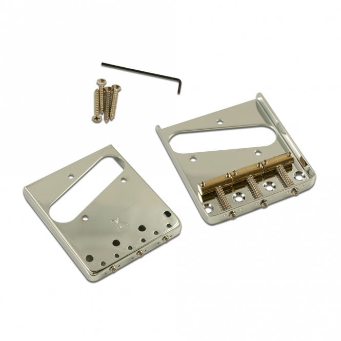 Kluson Steel Bridge for Tele with 3 Brass Saddles (Top loading and Through Body Stringing)