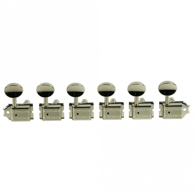 Kluson Traditional 6 In Line Tuners, Double Row Stamp, Locking