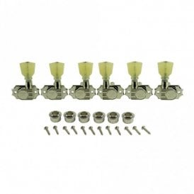 Revolution Diecast Tuners, 3 Per Side, Pearloid Keystone Button, Push-Fit Bushing for 8.8mm Headstocks
