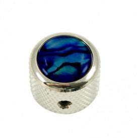 Dome knob - Abalone Shell cap - Blue / Chrome base