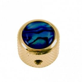Dome knob - Abalone Shell cap - Blue / Gold base