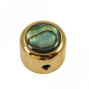 Dome knob - Abalone Shell cap - Natural / Gold base