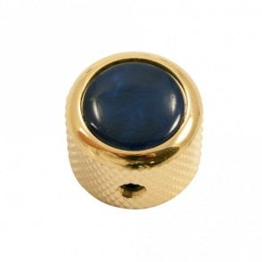 Dome knob - Acrylic cap - Pearl Blue / Gold base