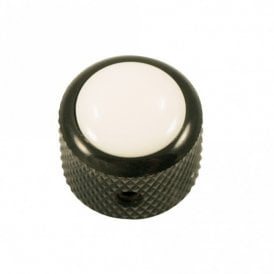 Dome knob - Acrylic cap - White / Black base