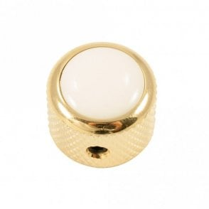 Dome knob - Acrylic cap - White / Gold base