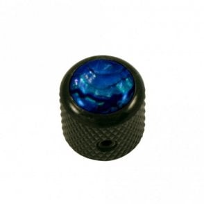 Mini - Dome knob - Abalone Shell cap - Blue / Black Chrome Base