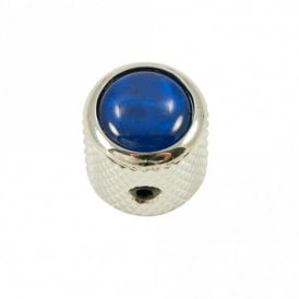 Mini - Dome knob - Abalone Shell cap - Blue / Chrome Base
