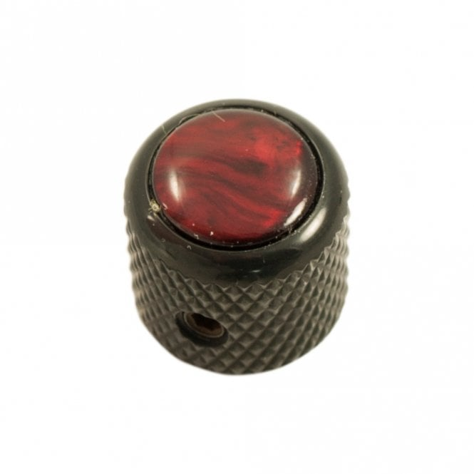 Mini - Dome knob - Acrylic cap - Pearl Red / Black Chrome Base