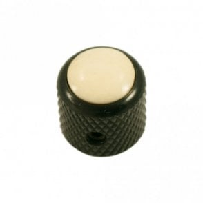 Mini - Dome knob - Bone cap - Ivory / Black Base