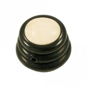 Ringo knob - Cream Cap / Black Chrome Base