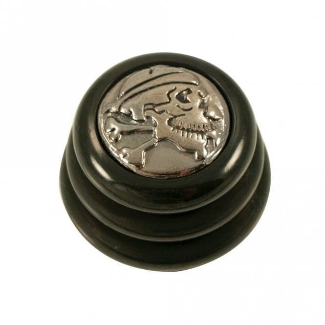 Q Parts Ringo knob - Skull N' Bone cap - Black / Black Chrome Base