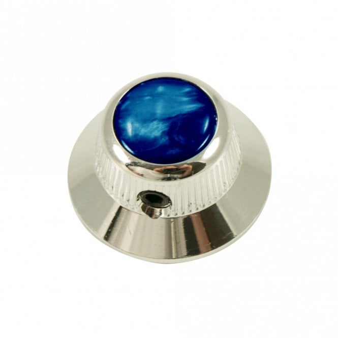 Q Parts UFO knob - Abalone Shell cap - Blue / Chrome base