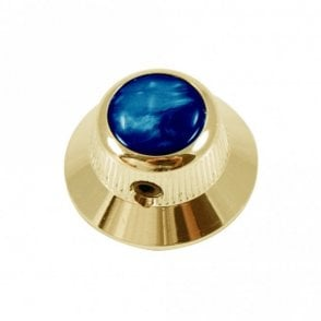 UFO knob - Abalone Shell cap - Blue / Gold base