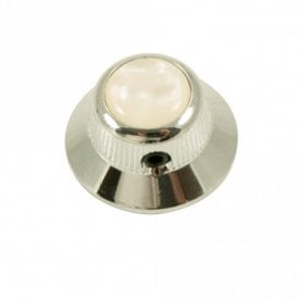 UFO knob - Acrylic cap - Pearl White / Chrome base