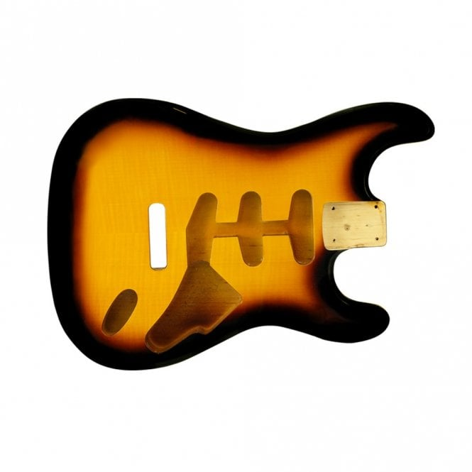 WD Music strat body flame tobacco sunburst
