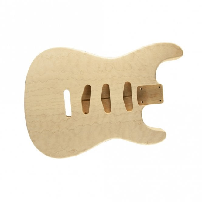 WD Music Strat body quilt/alder unfinished- rear controls only