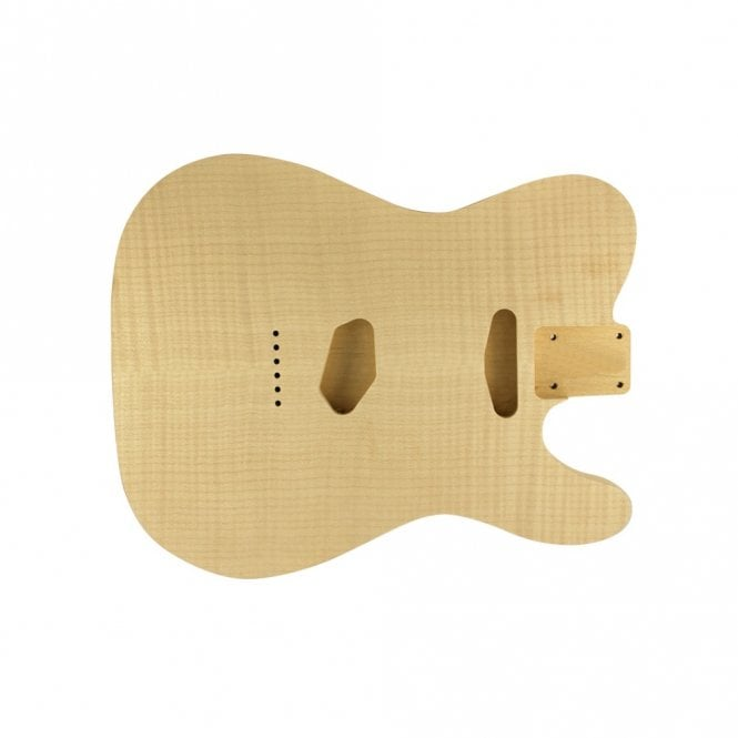 WD Music Tele body flame/alder unfinished- rear controls only