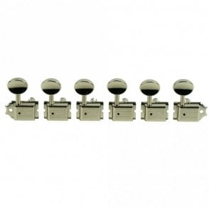 Traditional 6 in line tuners with single line Kluson stamp