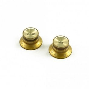 Bell Knob Set (1 x volume 1 x tone) Gold, USA fit and CTS pots