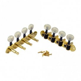 Deluxe Mandolin Tuners in gold and black finish, pearloid buttons with bushes and screws