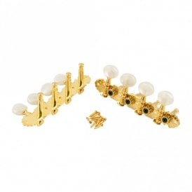 Deluxe Mandolin Tuners in gold finish, pearloid buttons with bushes and screws