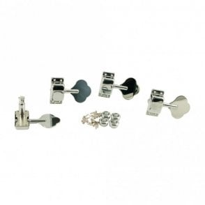 Enclosed 4 In Line Bass Tuners Chrome