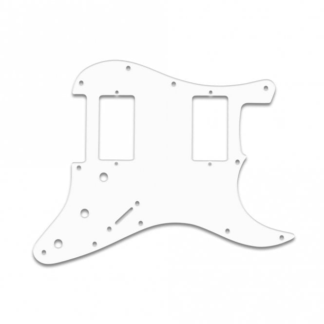 "WD Music Fender Blacktop Series Strat 2 Humbuckers - Thin Shiny White .060"" / 1.52mm Thickness, No Bevelled Edge"