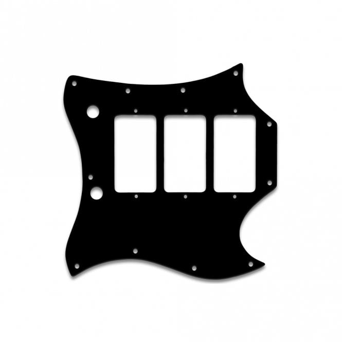 "WD Music Gibson Sg Custom (Full Face) - Thin Shiny Black .060"" / 1.52mm Thickness, No Bevelled Edge"