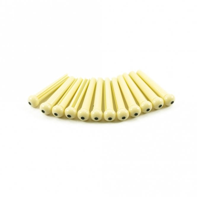 WD Music Plastic Bridge Pins Cream with Black Dot - Bag of 12