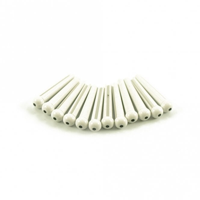 WD Music Plastic Bridge Pins White with Black Dot - Bag of 12