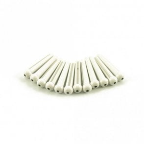 Plastic Bridge Pins White with Black Dot - Bag of 12