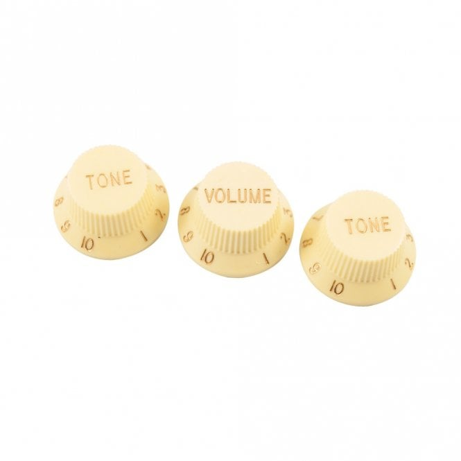 WD Music Replacement Strat Knob Set in Cream, USA fit and CTS pots (24 spline)