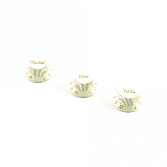 WD Music Replacement Strat Knob Set in White, USA fit and CTS pots (24 spline)