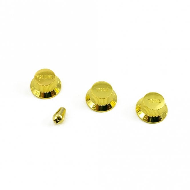 WD Music Replacement Strat Knob Set with Switch Tip in Gold, USA fit (For 24 spline pots and USA Switches)