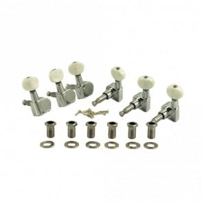 Six In Line Tuners, White Pearloid Plastic Buttons