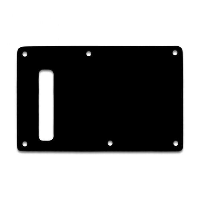 "WD Music Strat Backplate - Thin Shiny Black .060"" / 1.52mm Thickness, No Bevelled Edge"