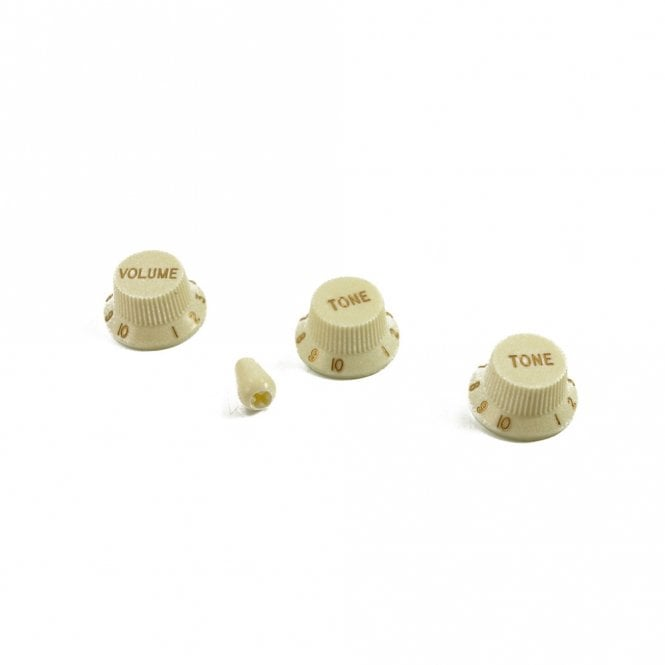 WD Music Strat Knob Set with Switch Tip, Antique White, USA fit and CTS pots
