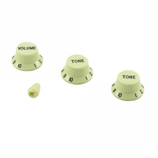 WD Music Strat Knob Set with Switch Tip, Vintage Mint Green, USA fit and CTS pots